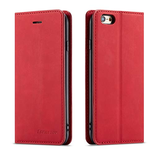 - QLTYPRI iPhone 6 Plus 6S Plus Case, Premium PU Leather Cover TPU Bumper with Card Holder Kickstand Hidden Magnetic Adsorption Shockproof Flip Wallet Case for iPhone 6 Plus 6S Plus - Red