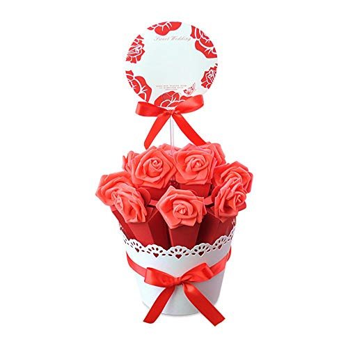 Lvcky European Flowerpot Style Wedding Candy Boxes Chocolate Box Ribbon Base Party Birthday Decor Baby Shower Set of 1 Red(Red)