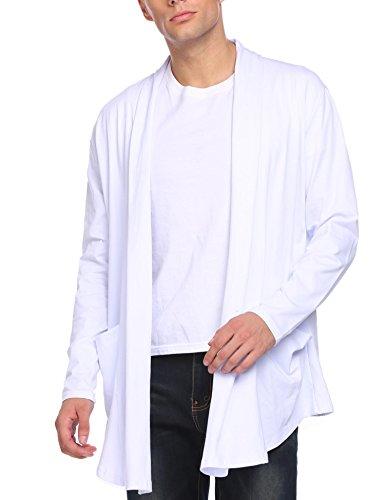 Manches Décontracté Hiver Pull À Outerwear Homme Long Lamore Longues Blanc Cardigan Yqxwz4xC6
