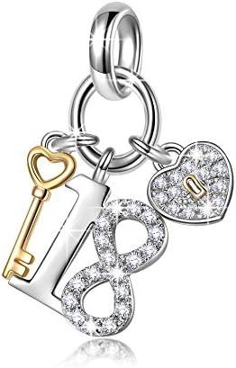 NINAQUEEN® Bead Charm per Sempre Giovani Argento Sterling 925, Zirconio, Placcatura Oro Rosa, con Confezione Regalo