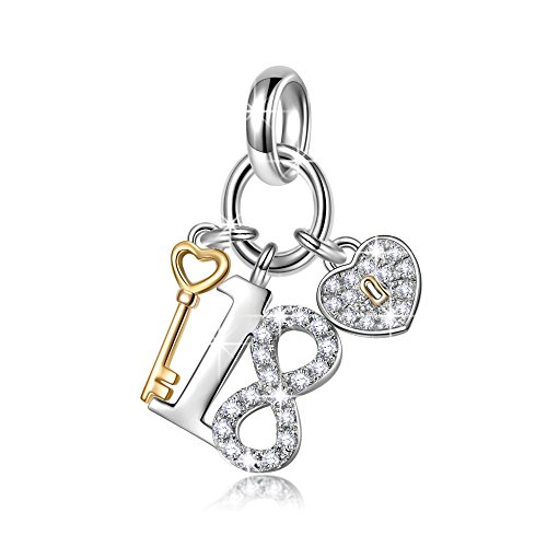 NinaQueen Lucky No.18 925 Sterling Silver 18 Years Old Birthday Gift Heart Key Pendant Dangle Charms, Ideal Adult Gifts for Daughter