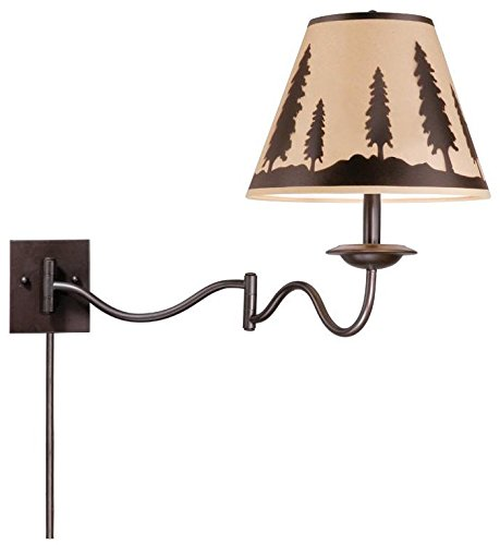 Burnished Bronze Lamp Wall (Vaxcel WL55512BBZ Yosemite Swing Arm Wall Lamp, Burnished Bronze)
