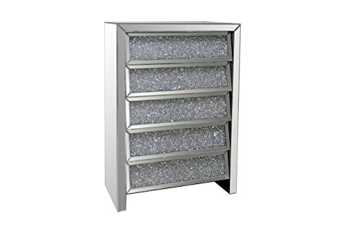 Best Quality Furniture Best Quality AC45 5 Drawer Cabinet, Silver with Crystal