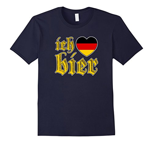 [Men's Oktoberfest I Love Beer Ich Liebe Bier Vintage T Shirt Large Navy] (German Beer Girl Costume Ideas)