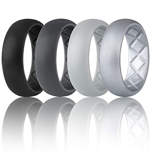 Egnaro Silicone Wedding Ring for Men, Breathable Mens' Rubber Wedding Bands, Size 8 9 10 11 12 13,Classical Style, for Crossfit Workout 12 Pack Rubber Bands