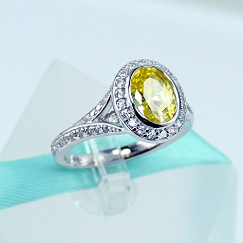 Sterling Silver Ring, Yellow Oval Simulated Diamond, Yellow Oval Cubic Zirconia, Engagement Ring, Promise Ring, Girl Women Rings (Ring Vvs2 Yellow)