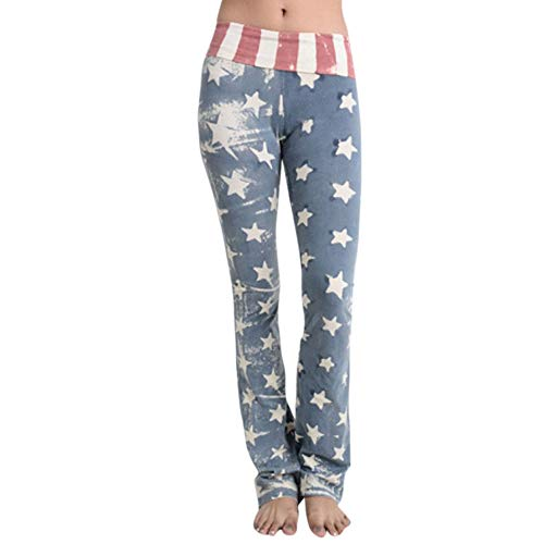 UONQD Women American Flag Print Wide Leg Pants Leggings (Small,Blue)