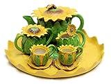 Unique Design Porcelain Miniature Tea Set –Sun Flower- for Home, Fairy Garden, Mini Garden, and Dollhouse Decoration, Collectible Item.