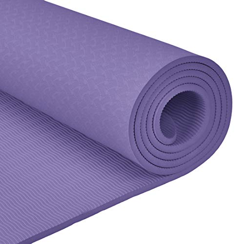Amazon.com : AmazonBasics TPE Yoga Mat, Purple, 1/4 ...