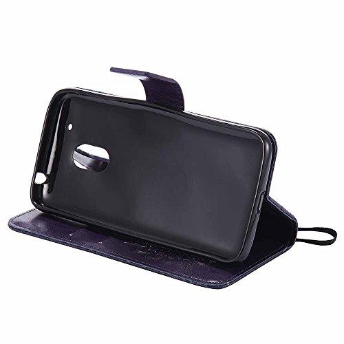 Funda Moto G4 Play, Dfly Premium PU Cuero Patrón Datura Flor Diseño Cierre Magnético Slim Flip Billetera para Motorola Moto G4 Play, Verde Violeta