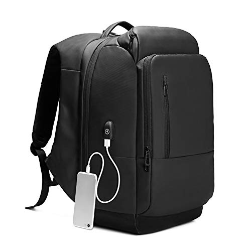 Pvc Ports (Trkee Men Travel Laptop Backpack Water Repellent Functional Rucksack with USB Port)