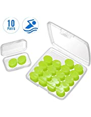 Mpow 10 Pairs Swimming Ear Plugs with Storage Box, Waterproof Swim Earplugs Adults, SNR 28dB Moldable Silicone Ear Plug, Water-Block Ear Plug for Swimming, Showering, Surfing, Sleeping, Working-Green