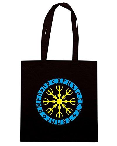 T-Shirtshock - Bolsa para la compra TIR0250 Helm of awe, Aegishjalmur, Runic Amulet Negro