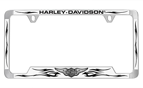 Harley-Davidson Chrome Plated Brass License Frame With Simulated White Carbon Fiber Inlay - Harley Davidson Carbon