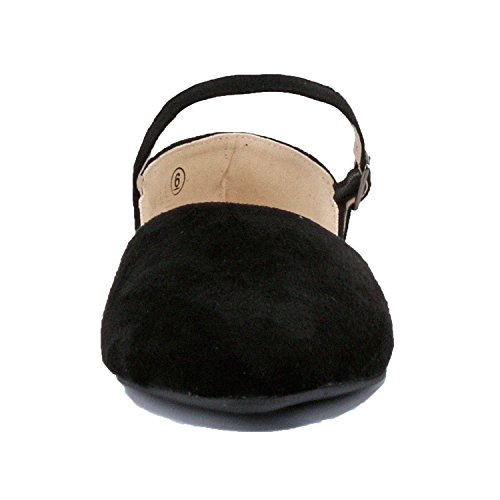 Women's Slip Strap Ankle On Dorsay Flat Suede Guilty Pointy Ballet Blackv1 Closed Heart Comfortable Toe Shoe 45qzE1w