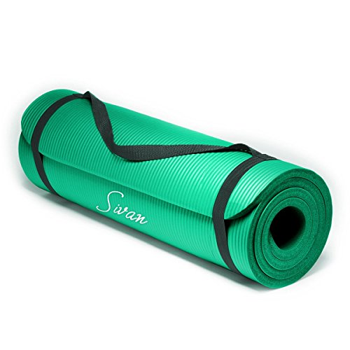 Sivan Health and Fitness 1/2-InchExtra Thick 71-Inch Long NBR Comfort Foam Yoga Mat for Exercise, Yoga, and Pilates (Green)