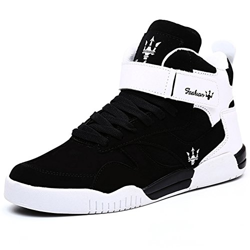 QANSI Men's Fashion High Top Leather Street Sneakers Sports Casual Shoes With Velcro Strap (11.5 D(M) US, Black/White)