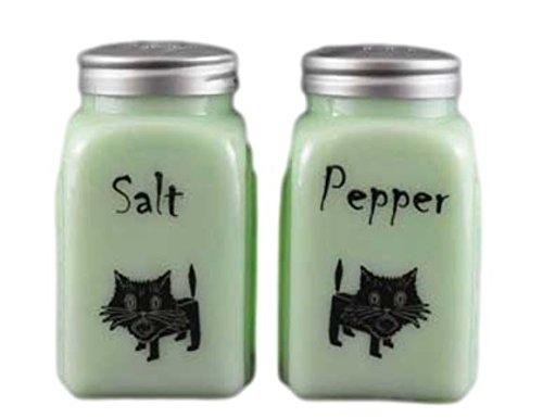 G3291JCAT Jadeite Green Glass Black Cat Roman Arch Jadite Salt & Pepper Shakers