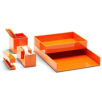 Poppin All Set, Desk Collection Set, Orange
