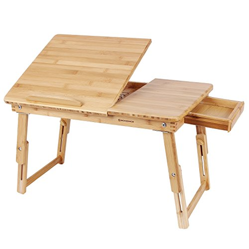SONGMICS Multi Function Lapdesk Table Bed Tray Foldable Adjustable Breakfast Table Tilting Top with Storage Drawer Bamboo Wood Natural ULLD01N (Breakfast Table The On)