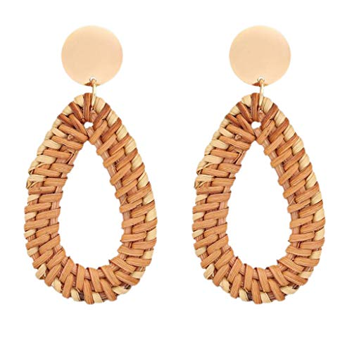 (Jocund Women Rattan Earrings For Female Handmade Straw Wicker Braid Drop Dangle Earrings)