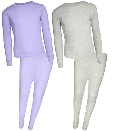 - Rene Rofe Girl Waffle Thermal Underwear Top and Pant Set (2 Full Sets), Lavender/Heather Grey, 3T'