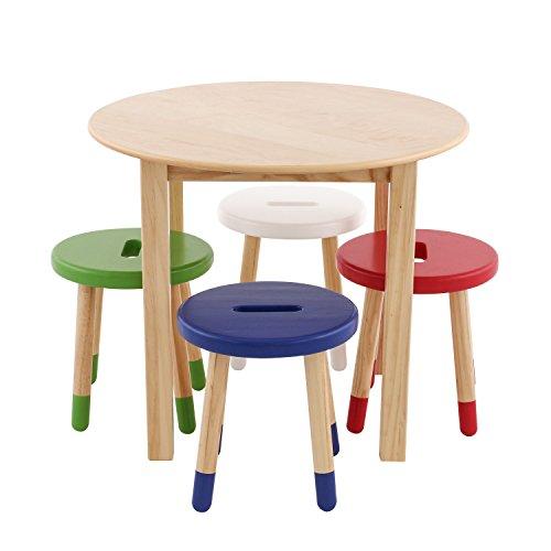 Max & Lily Natural Wood Kid and Toddler Round Table Set with 4 Colored Stools by Max & Lily