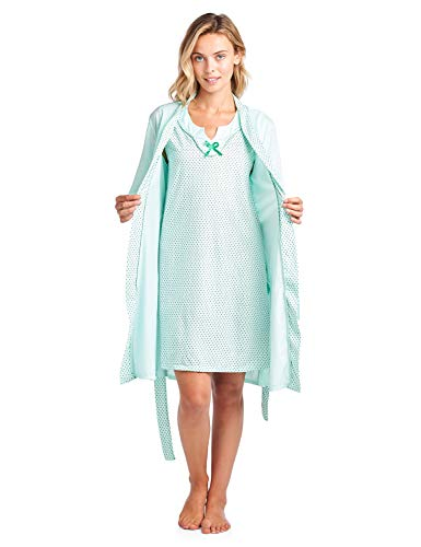 Casual Nights Women's Sleepwear 2 Piece Nightgown and Robe Set, Polka Dot Green, Medium