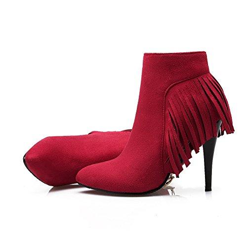 Rot Pinker 1TO9 Winkle Wildlederstiefel Imitiert Mädchen Quasten Reißverschluss qq6A0