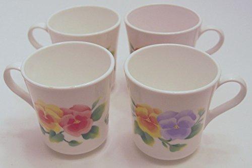 Set of 4 Corelle Corning Ware Summer Blush Pansy Coffee Mugs Cups