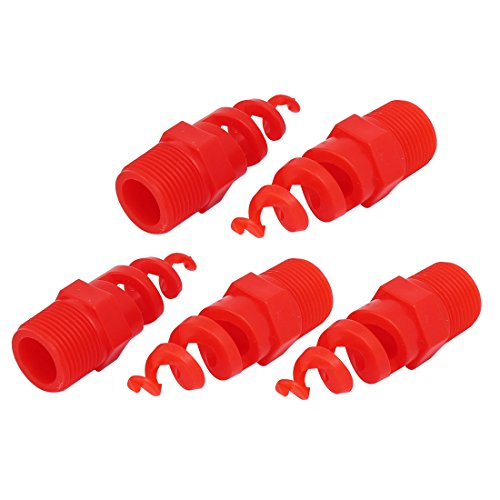 uxcell 1BSP Male Thread PP Spiral Cone Atomized Nozzle Industrial Spray Red 5pcs