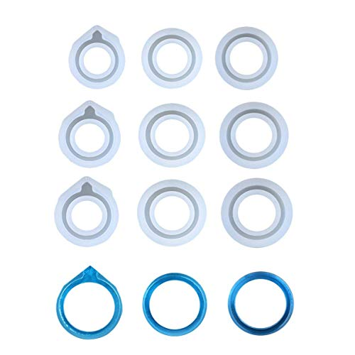 (SODIAL 9Pcs Assorted Sizes DIY Ring Silicone Mold Jewelry Pendant Rings Resin Casting Circle Casting Mould for DIY Craft Making, Diameter 16Mm-20Mm)