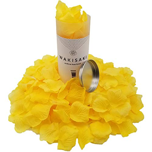 WAKISAKI (Separated, Pleasant-Smelling) Artificial Fake Rose Petals for Romantic Night, Wedding, Event, Party, Decoration, in Bulk (1000 Count, Royal Yellow) ()