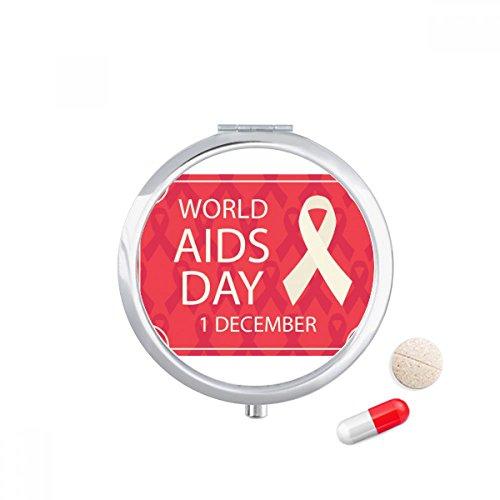 World AIDS Day Red Ribbon HIV Travel Pocket Pill case Medicine Drug Storage Box Dispenser Mirror Gift by DIYthinker