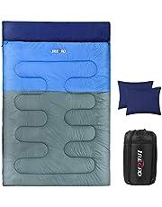IREGRO Schlafsack Winter Doppel Deckenschlafsack verdickte 3.2kg mit Zwei Kissen Hüttenschlafsack Sleeping Bag 3/4 Jahreszeiten für Camping