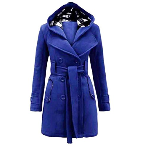 Price comparison product image FAPIZI Women Coat Womens Warm Winter Hooded Long Section Coat Belt Double Breasted Jacket (M,  Blue)