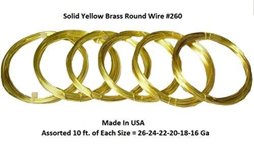 Assorted Sizes Brass Round Wire (26-24-22-20-18-16 Ga 10 Ft Each Solid Brass Wire