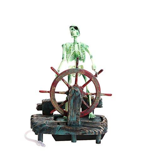 WinnerEco Pirate Captain Aquarium Decorations Landscape Skeleton on Wheel Action (Bubbler Skeleton Fish Tank)