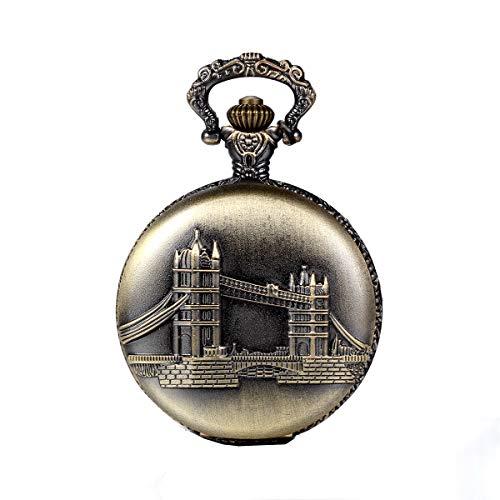 (JewelryWe Vintage Pocket Watch Retro London Bridge Pattern Pendant Watch Classic Locket Necklace Watch for Mothers Day Gift)