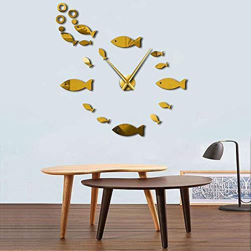 1Piece Sea Animal 3D Wall Clock Sticker Fish Bubble DIY Clock Watch Large Big Wall Clocks Modern Design House Clock Decor Gold 47inch