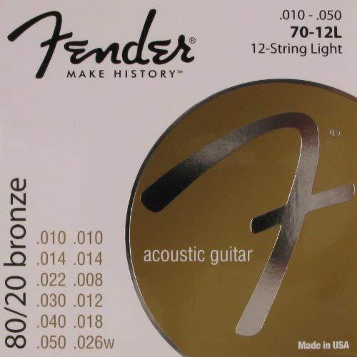 (Fender Acoustic Guitar 80/20 12 String Light Ball End, .010 - .048, 70-12L)