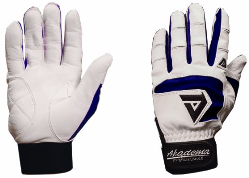 Akadema Professional Series - Akadema Professional Batting Gloves (White/Navy, Large)