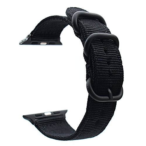 For Apple Watch Band,ViCRiOR 42mm Woven Nylon NATO iWatch Band Replacement Strap with Adapters for Apple Watch 42mm Series 3, Series 2 and Series 1,Black (Traditional Series Soap)