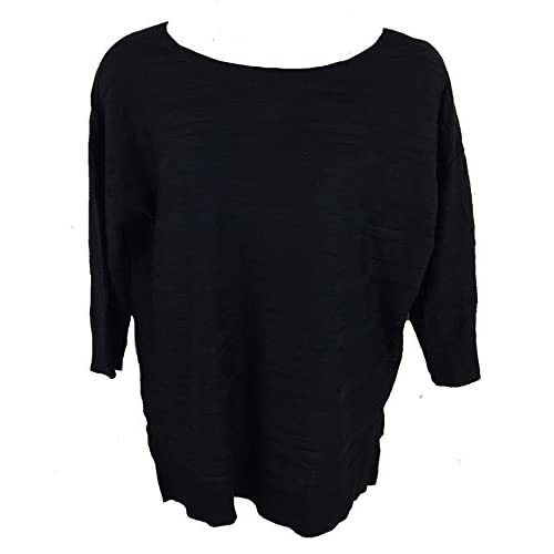 Calvin Klein Women's 3/4 Sleeve Pullover Sweater, Black, XL supplier