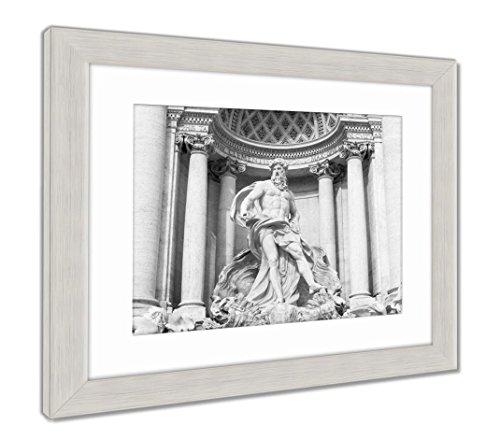 Ashley Framed Prints Neptune of Trevi Fountain Fontana Di Trevi in Rome, Wall Art Home Decoration, Black/White, 30x35 (Frame Size), Silver Frame, AG6142789