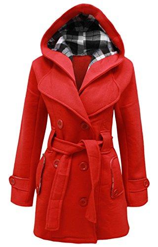 cexi polaire ceinture manteau veste red femmes FEMMES double COUTURE avec hiver capuche boutonnage rxrABwq