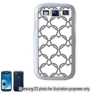 Gray Grey Interlocking Hearts Love Monogram Pattern Samsung Galaxy S3 i9300 Case Cover Skin White