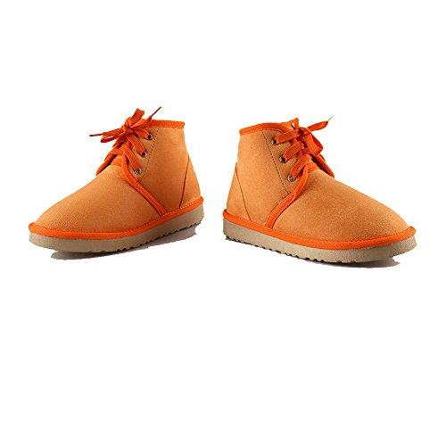 Allhqfashion Dames Low-top Solide Veterschoen Ronde Gesloten Neus Lage Hakken Snow-boots Oranje