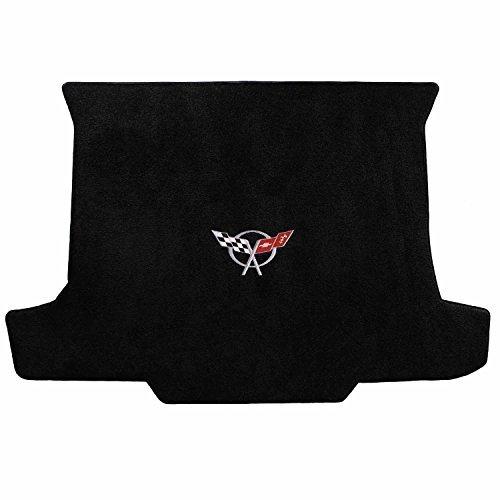 C5 Corvette Convertible Classic Loop Black Trunk Mat - Silver Crossed Flags Logo