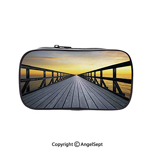 (Big Capacity Pencil Case 1L Storage,Long Wood Pier Deck by The Sea Disappearing into Sunset Nature Scenery in Twilight Print Brown Yellow 5.1inches,Desk Pen Pencil Marker Stationery Organizer with Zi)